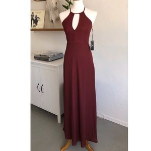 Lulu's Beauty & Grace burgundy keyhole maxi dress